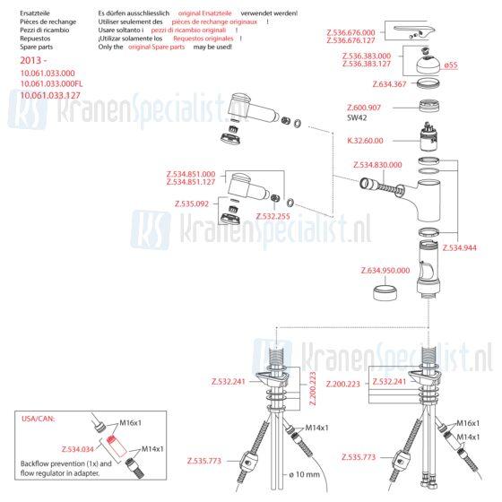 Kwc Onderdelen Domo Keukenkraan 1-Greeps Met Uittrekbare Kop (Vanaf 2013) Artikelnummer 10.061.033.000Fl