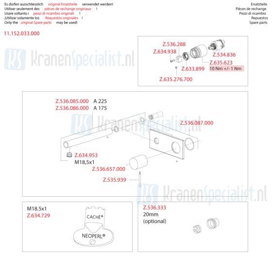 Kwc Onderdelen Ono Wastafelkraan 1-Greeps Wand Inbouw Artikelnummer 11.152.033.000
