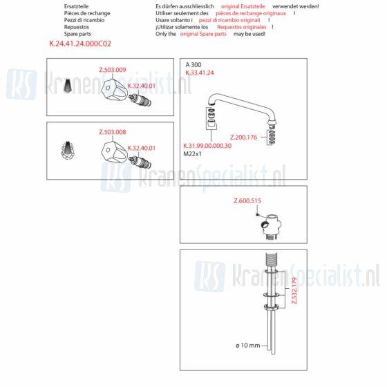Kwc Onderdelen Gastro Keukenkraan 2-Greeps Artikelnummer K.24.41.24.000C02