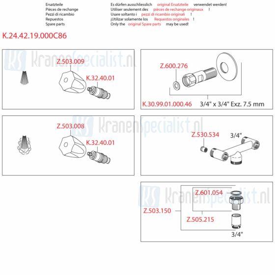 Kwc Onderdelen Gastro Keukenkraan 2-Greeps Wandopbouw Artikelnummer K.24.42.19.000C86