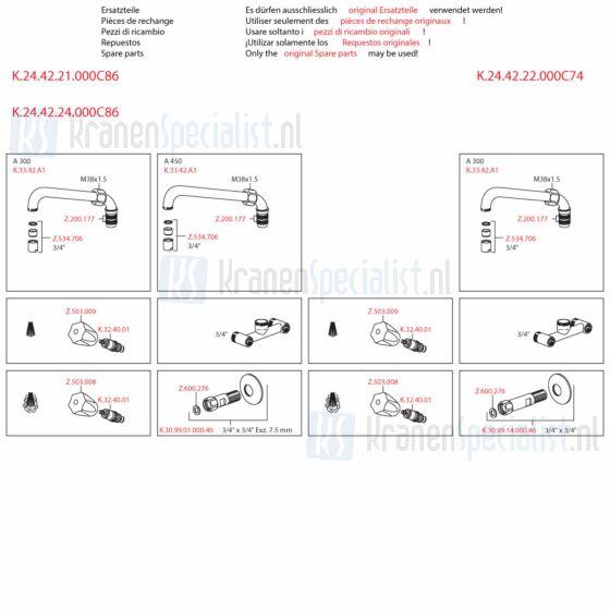 Kwc Onderdelen Gastro Keukenkraan 2-Greeps Wandopbouw Artikelnummer K.24.42.21.000C86