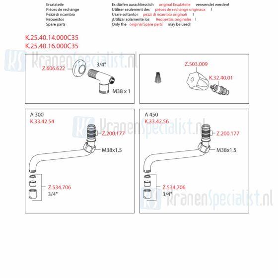 Kwc Onderdelen Gastro Tapkraan 1-Greeps Wandopbouw Artikelnummer K.25.40.14.000C35