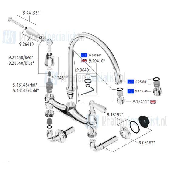 Perrin & Rowe onderdelen Ionian keukenkraan wandmontage porseleinen hendels 4183