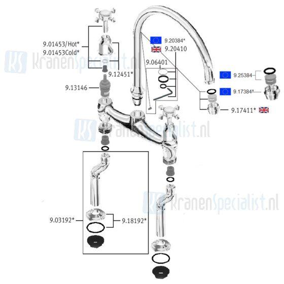 Perrin & Rowe onderdelen Ionian 2 gats keukenkraan met kruisgrepen 4192