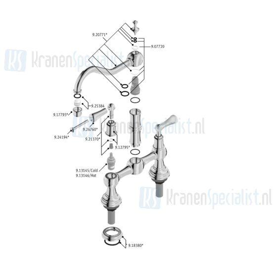 Perrin & Rowe Onderdelen Provence 2 gats keukenbrugkraan met metalen hendels 4751
