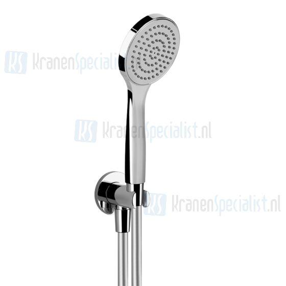 Gessi Emporio Shower Slangaansluitknie 1/2 met vaste wandhouder doucheslang 150 cm en handdouche met antikalksysteem compleet. Chroom Artikelnummer 47223.031