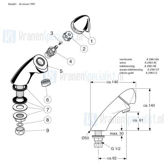 Ideal Standard onderdelen Academy Toiletkraan >1999 A2983AA