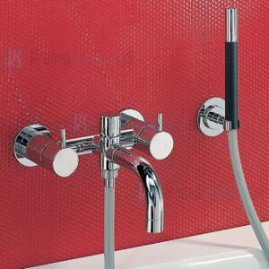 Vola Duoknop opbouw badmengkraan met uitloop omstel handdouche. Geborsteld Chroom