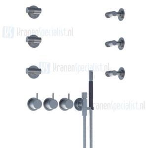Vola Bedieningsknop, thermostaatknop, omstelknop, handdouche en houder, 4 zijdouches. Geborsteld RVS
