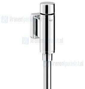 """Grohe Rondo urinoirspoeler 1/2"""" vandaalremmende uitvoering met stopkraan spoelpijp 200mm recht en verbinder chroom"""