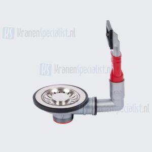 """Franke Turbo afvoerplug / Gootsteenplug 90mm afvoer garnituur 6/4"""" met overloop-aansluiting met korfplug"""