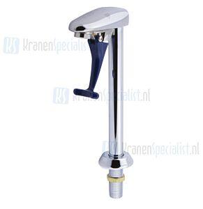 T&S Water-Tapkraan / Glazenvuller op standzuil met blauwe hendel Chroom