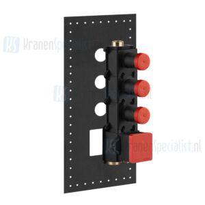 Gessi Inbouwdeel voor hoog debiet thermostaatkraan met 3 (onafhankelijke uitgangen) en 3/4 aansluitingen. Geschikt voor verticale ofh Chroom Artikelnummer 43105.031