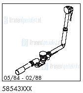 HansGrohe Afvoer- en overloopgarnituren Flexaplus productiejaar 05/84 - 02/88 58543 onderdelen