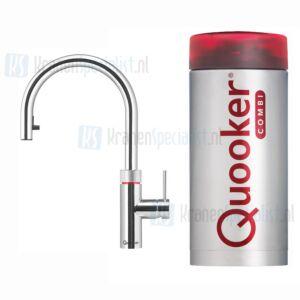 Quooker Flex 3-in-1 kraan met uittrekbare slang Chroom incl Combi Plus E 2200W boiler