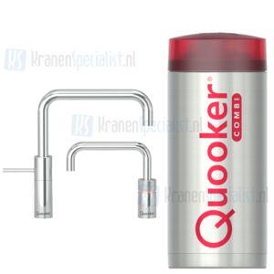 Quooker Nordic Square Twintaps kranen Chroom incl Combi E 2200W boiler