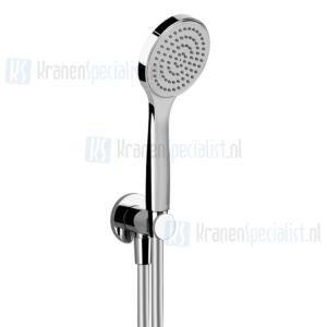 Gessi Emporio Shower Slangaansluitknie 1/2 met vaste wandhouder doucheslang 150 cm en handdouche met antikalksysteem compleet. Chroom Artikelnummer 38723.031