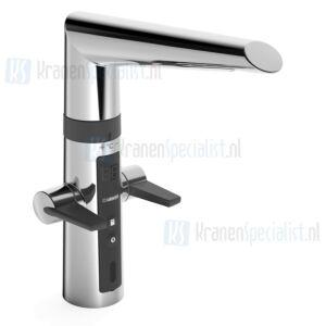 Hansa Hansafit Hybrid Elektronische eenhendel keukenmengkraan met aparte Easy-grip bedieningshendel voor warm en koud en vaatwasser ventiel Chroom