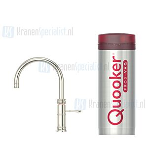 Quooker Fusion Classic Round  3-in-1 kraan Zilver Nikkel incl Pro3 VAQ E 1600W boiler