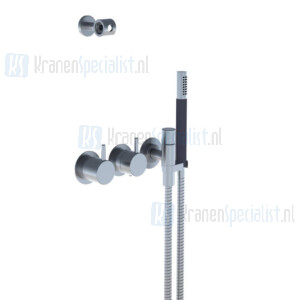 Vola 3/4 Inbouwthermostaatkraan met handdouche en handdouchehouder. Geborsteld RVS