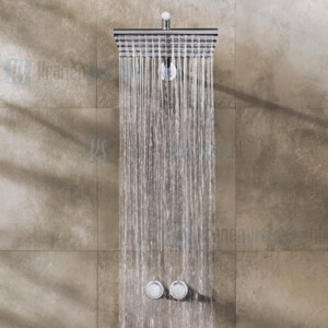 Inbouwthermostaatkraan met regendouche. Geborsteld RVS
