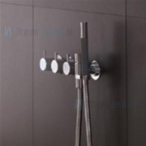 Inbouwthermostaatkraan met 2-weg omstel, naar handdouche en houder en 1x vrije uitgang. Geborsteld chroom