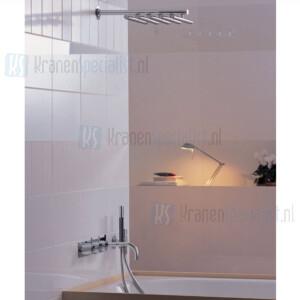 Vola Inbouwthermostaatkraan met 3-wegomstel vaste baduitloop handdouche en regendouche. Geborsteld RVS