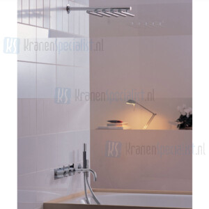 Vola Inbouwthermostaatkraan met 3-wegomstel vaste baduitloop handdouche en regendouche. Geborsteld Crhoom