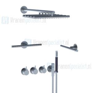 Vola Inbouwthermostaat met 3-weg omstel, naar handdouche met houder, regendouche, wandmontage en 2 zijsprays. Geborsteld RVS