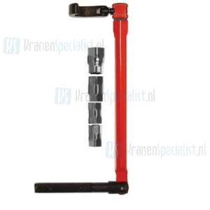 Wastafeltang pijpsleutel 13 model met draaibare bek en verlopen voor M9-M10-M11 en M14 moeren rood