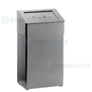 Loggere Robusto afvalbak 50L met afgeronde hoeken met zelfsluitende duw klep RVS