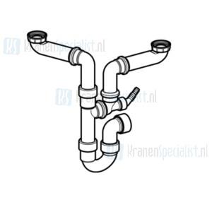 Geberit ruimtebesparend spoelbaksifon voor 2 spoelbakken