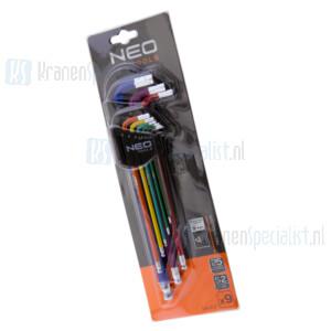 NEO Inbussleutel-set 1.5 - 10mm gekleurd DIN 911, ISO 2936,SNCM-V Staal, TUV M+T 09-512