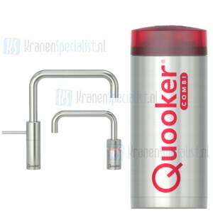 Quooker Nordic Square Twintaps kranen RVS incl Combi E 2200W boiler