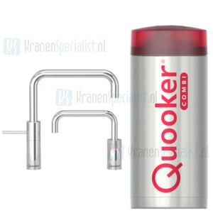 Quooker Nordic Square Twintaps kranen Chroom incl Combi Plus E 2200W boiler