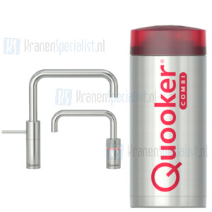 Quooker Nordic Square Twintaps kranen RVS incl Combi Plus E 2200W boiler