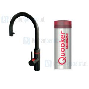 Quooker Flex 3-in-1 kraan met uittrekbare slang Zwart incl Pro3 VAQ E 1600W boiler