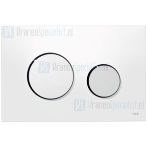 TECE loop wc-bedieningsplaat van kunststof, wit toetsen glanzend chroom