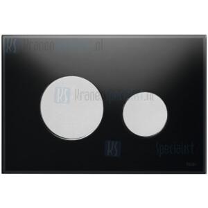 TECE loop wc-bedieningsplaat van glas zwart, toetsen mat chroom