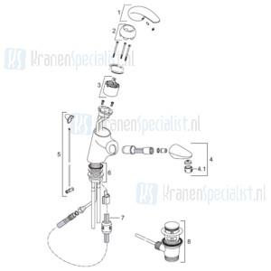 Venlo Onderdelen Axxel Wastafelmengkraan met handdouche A5211AA