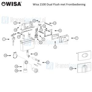 Wisa Onderdelen 2100 met Frontbediening Dual Flush