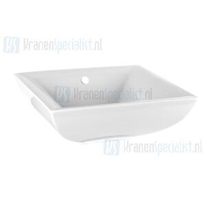 Gessi Sanitari Mimi Opbouwwastafel vierkant met overloop uit Wit Europees Keramiek in 031.verkrijgbare afwerkingen 080/149 en demand. White Europe Ceramic Artikelnummer 37504.518