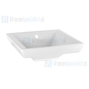 Gessi Sanitari Mimi Halfinbouw- of onderbouwwastafel vierkant met overloop uit Wit Europees Keramiek Kleuren 080/149 zijn op aanvraag leverbaar. White Europe Ceramic Artikelnummer 37506.518