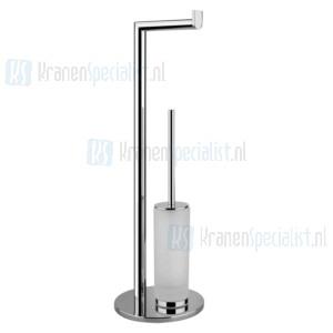Gessi Emporio Accessories Closetborstelgarnituur staand met closetrolhouder met gesatineerd glas. Chroom Artikelnummer 38935.031