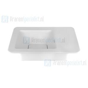 Gessi Ispa Sanitari Opbouwwastafel mat wit christalplant met overflow inclusief grill waste. Zonder kraangaten maar met markering onderaan. Cristalplant Artikelnummer 42007.521