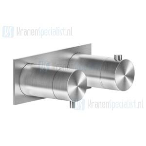 Gessi Bagno Gessi 316 Afbouwdeel voor inbouw 2-weg bad/douche thermostaatkraan 3/4 met 1/2 uitgangen filters en keramische schijven. Geborsteld Staal Artikelnummer 54034.239