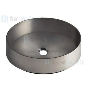 Gessi Sanitari Gessi 316 Counter washbasin In stainless steel, without overflow waste. Zwart Metaal Geborsteld Artikelnummer 54601.707