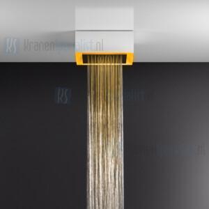Gessi Afilo 300x300 opbouw douchesysteem met RAINFALL-functie en chromotherapie-effect voor plafond- / vals plafondmontage met wit frame. Elektronische onderdelen meegeleverd met waterdichte afstandsbediening en haak. Te matchen met 12V-voeding niet