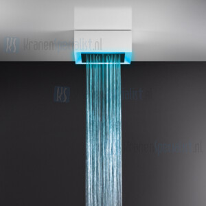 Gessi Afilo 300x300 zichtbaar multifunctioneel systeem met RAINFALL / WATERFALL-functie en chromotherapie-effect voor plafond / vals plafondmontage met wit stalen frame. Elektronische onderdelen meegeleverd met waterdichte afstandsbediening en haak.