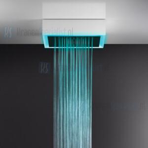 Gessi Afilo 500x500 zichtbaar multifunctioneel systeem met RAINFALL / WATERFALL / MIST-functie en chromotherapie-effect voor plafond / vals plafondmontage met wit stalen frame. Elektronische onderdelen meegeleverd met waterdichte afstandsbediening en